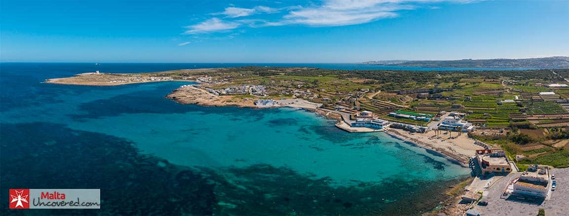 View of Armier and Little Armier Bay in Malta.