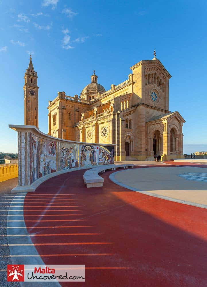 The beautiful Basilica of the Blessed Virgin of Ta' Pinu on the outskirts of Gharb, Gozo.