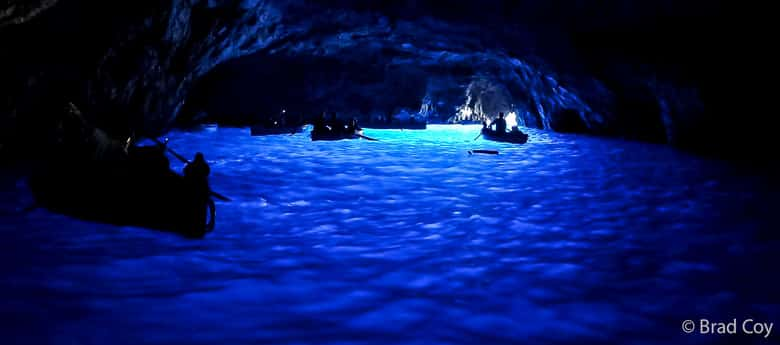 Inside the Blue Grotto on a summer morning, with cobalt blue water.