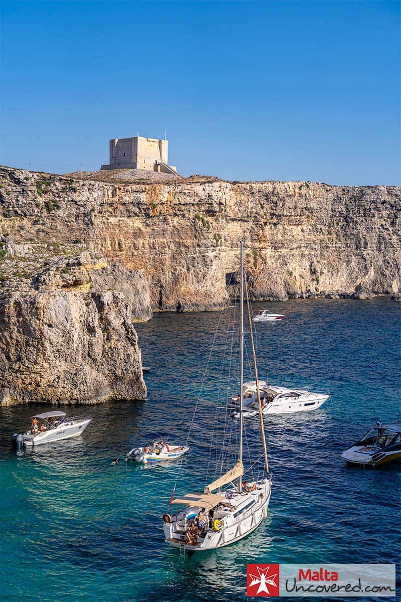 St. Mary's watchtower overlooking the Crystal Lagoon in Comino.