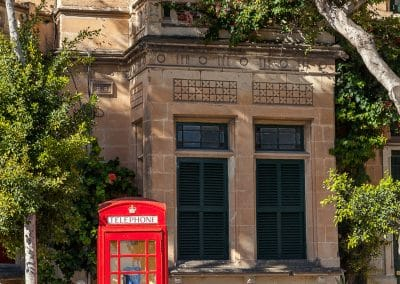 A phone booth - a remnant of Malta's British past
