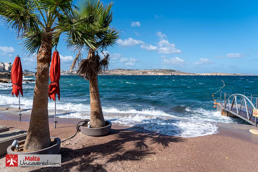 A windy day in March at Bugibba beach.