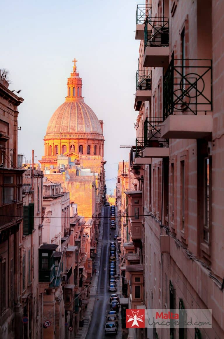 Carmelite church seen from a higher part of Valletta.
