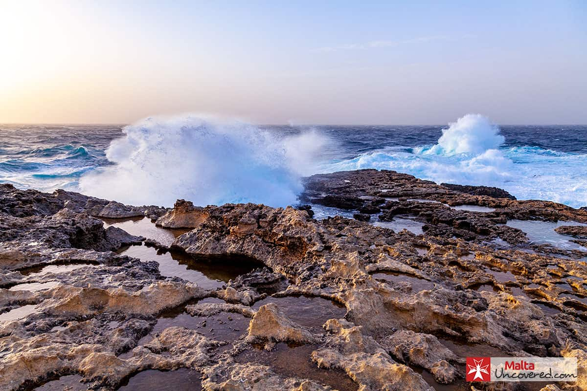 Crashing waves on the rocks at Dwejra (Gozo) in January, during a spell of cold, windy weather.