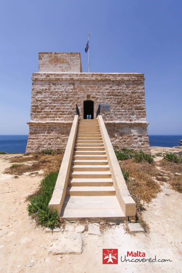 The Dwejra Watch Tower with its flag hoisted to indicate that it's open to visitors.
