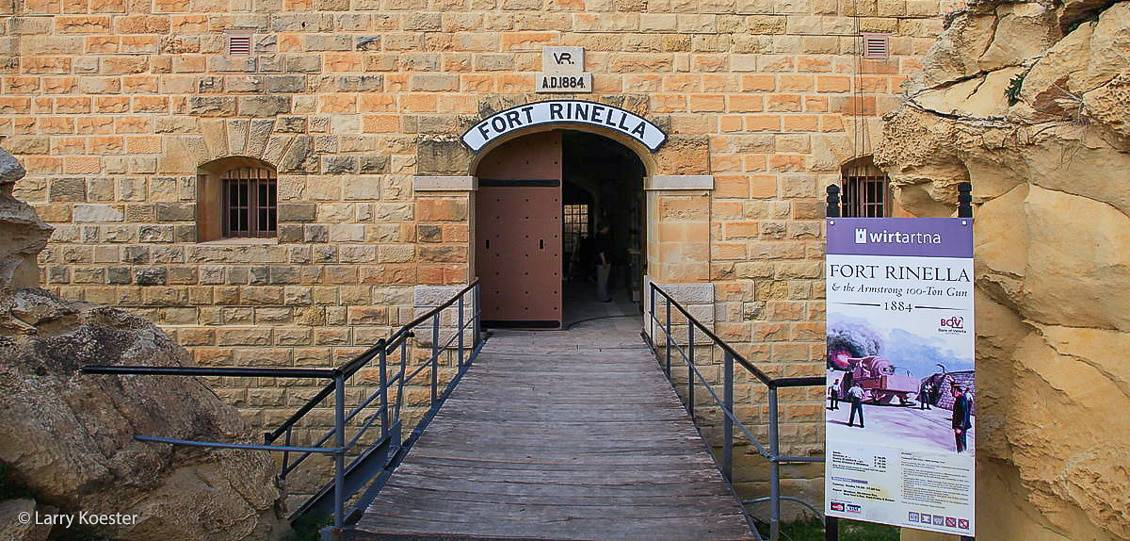 The entrance to Fort Rinella and its 100-tonne gun.