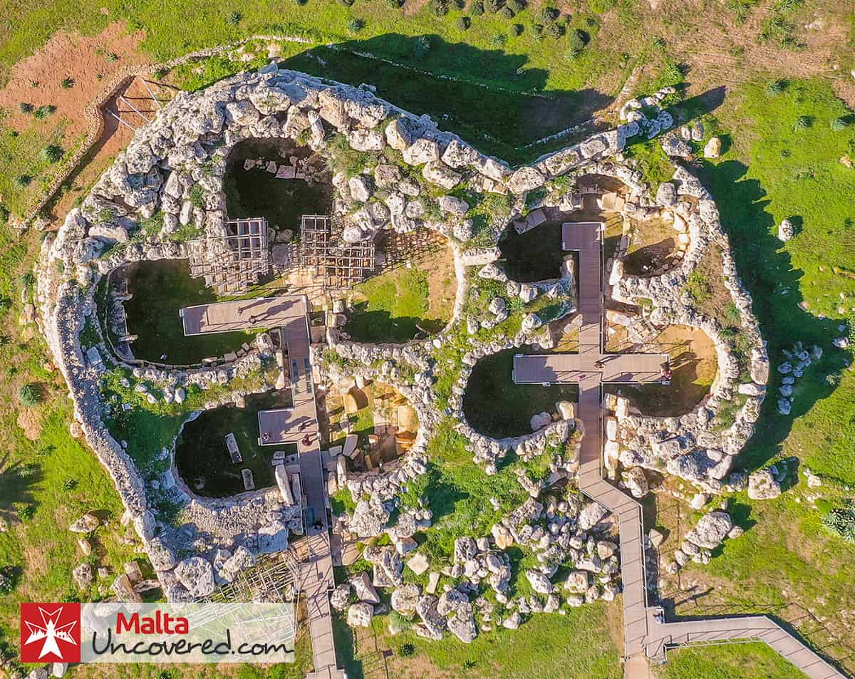 The Ġgantija Temples as seen from above.