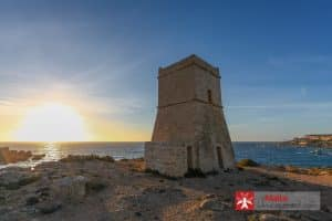 Għajn Tuffieħa tower at sunset