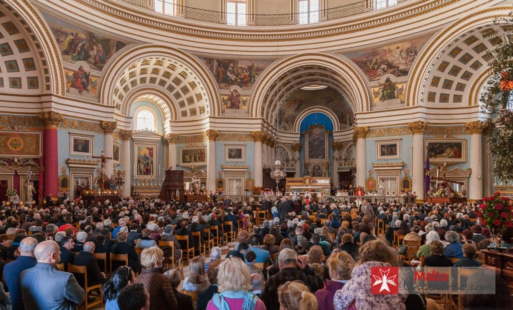 Good Friday mass at the Mosta dome church, preceding the Good Friday procession.