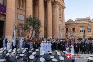 The start to the Good Friday procession in Mosta, Malta.