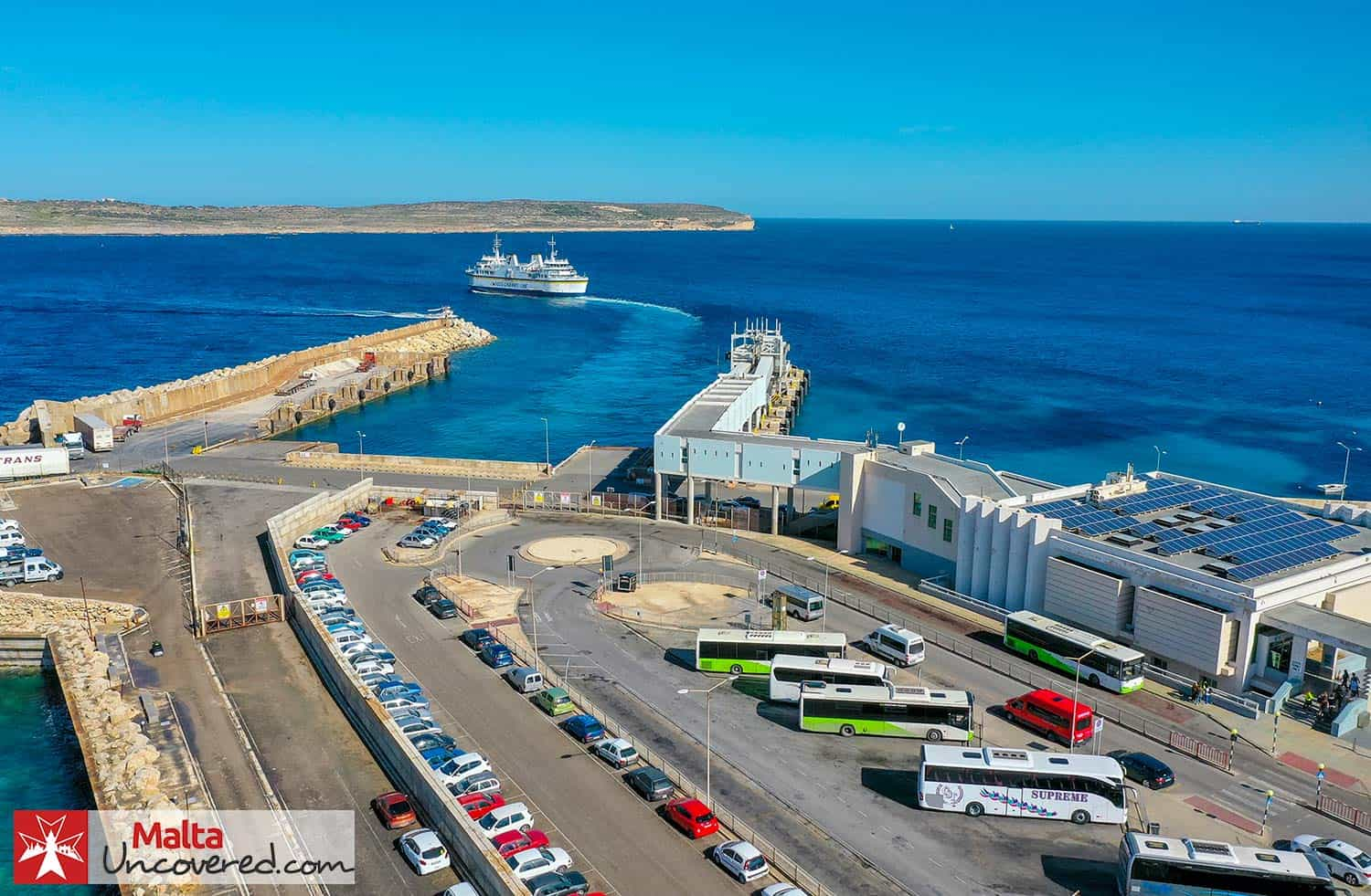 The Gozo ferry departing from Cirkewwa in the North of Malta.