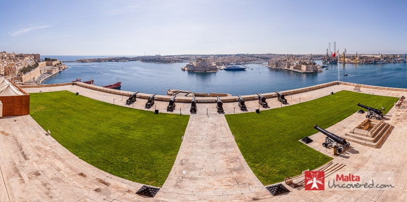 One of the amazing views on most Valletta tours at the Upper Barrakka Gardens.