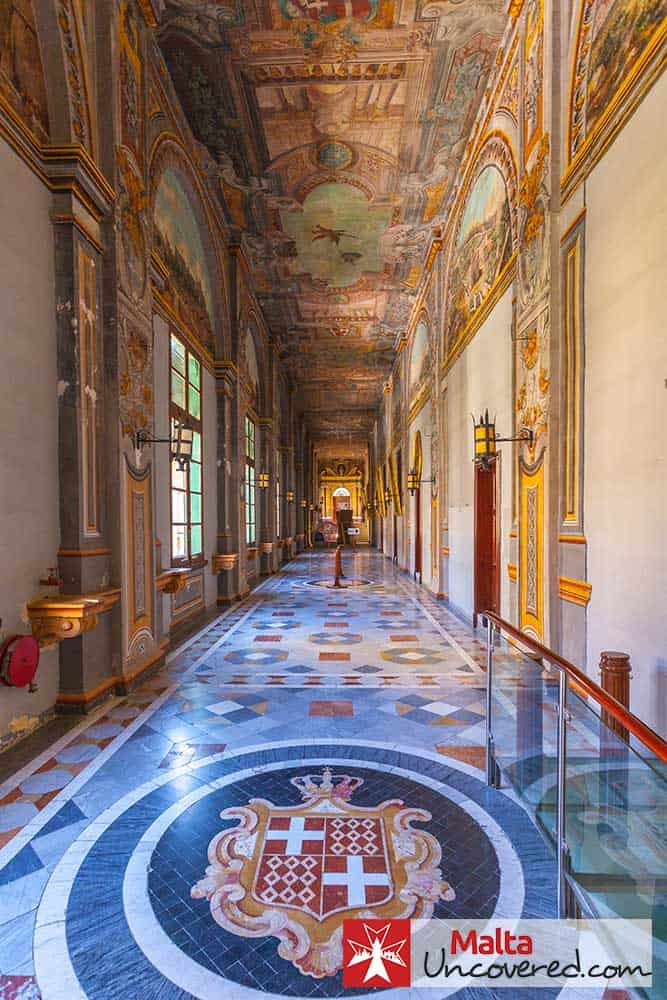 Painted ceilings, intricate marble floors and plenty to admire in the Grandmaster's Palace State Rooms halls in Valletta.