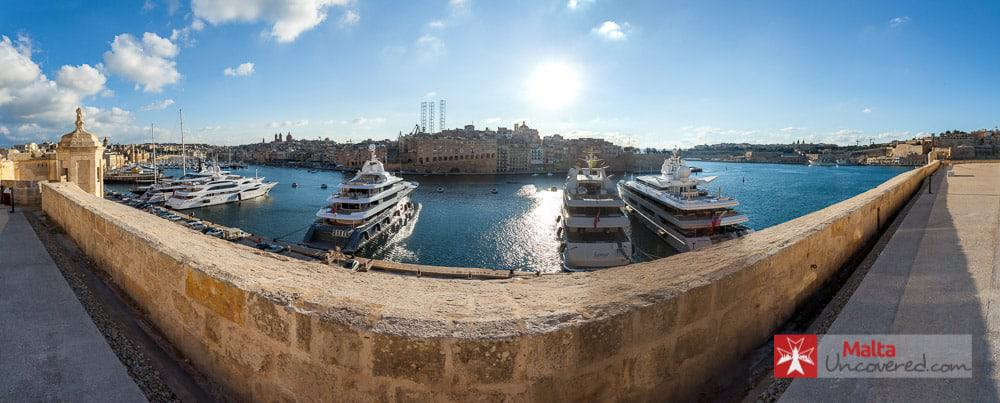 View of Grand Harbour from Fort St. Angelo in Birgu