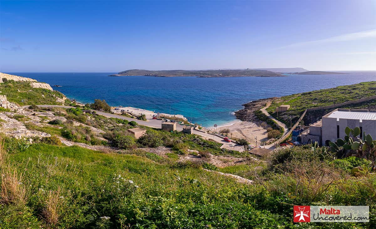 Hondoq ir-Rummien Bay with views of Comino, in February.
