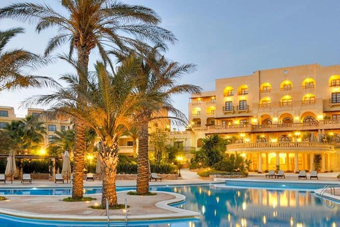 Kempinski Hotel front and pool - One of the few 5-star Gozo hotels.
