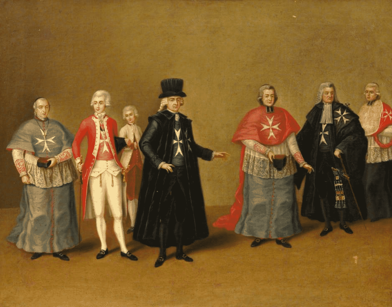 Painting of the Knights of Malta with Maltese Cross
