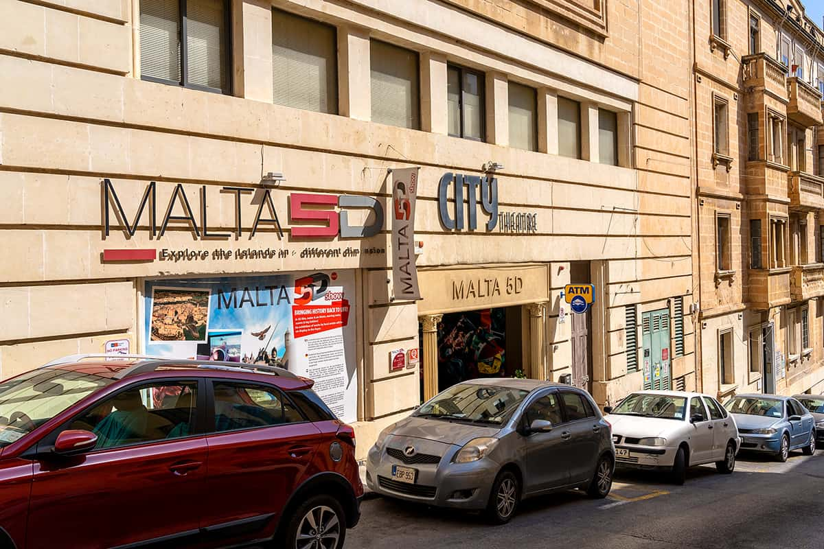 The entrance to the Malta 5D audiovisual show and attraction in Valletta.