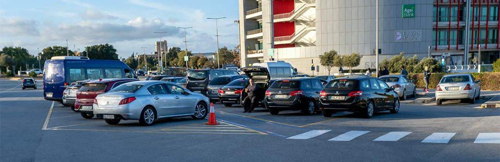 The Malta airport transfer area right outside the arrivals hall.