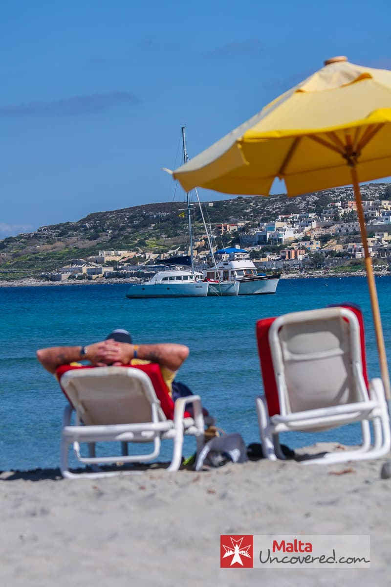 A popular reason to visit Malta: Chilling at the beach.