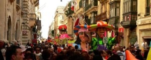 Carnival celebrations with floats in Republic Street, Valletta