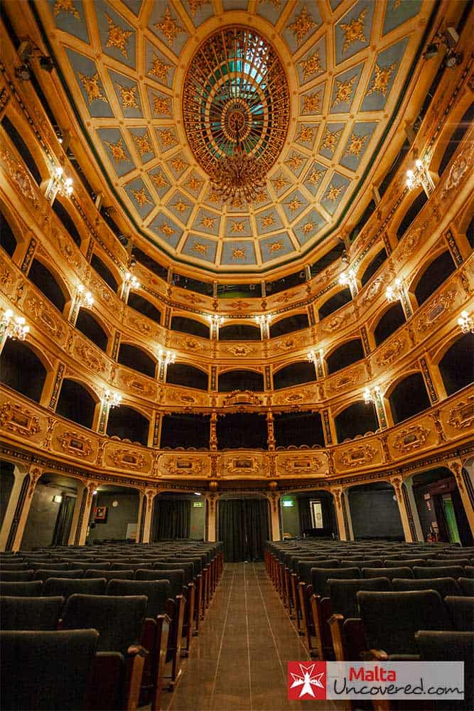The Manoel Theatre auditorium and its beautifully decorated ceiling.