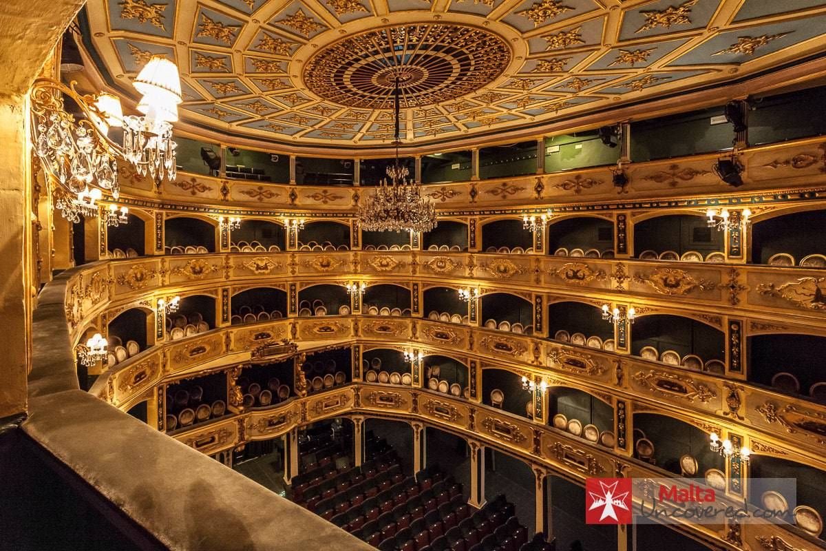 The beautiful auditorium of the Manoel Theatre.
