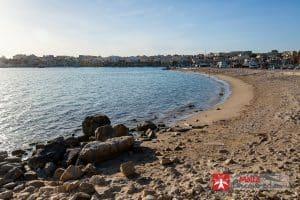 The small sandy beach at Marsaxlokk