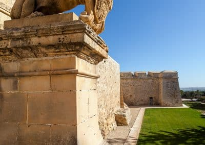 One of the lions on the side of Mdina's main gate