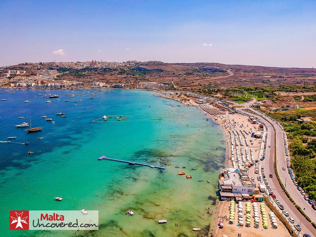 Mellieha Bay on a hot summer's day in August.