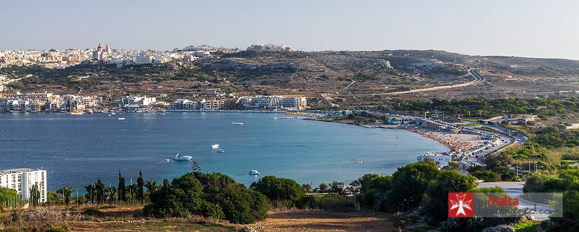 Mellieha Bay / Għadira with the village of Mellieha in the background