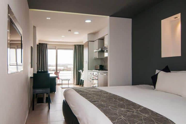 One of the comfortable rooms at Pebbles Boutique Aparthotel.