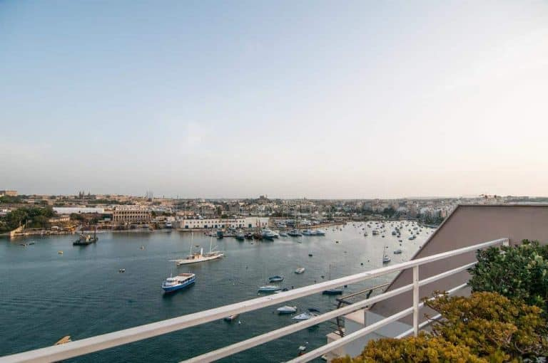 Views out over Marsamxett Harbour at Pebbles Boutique Aparthotel.