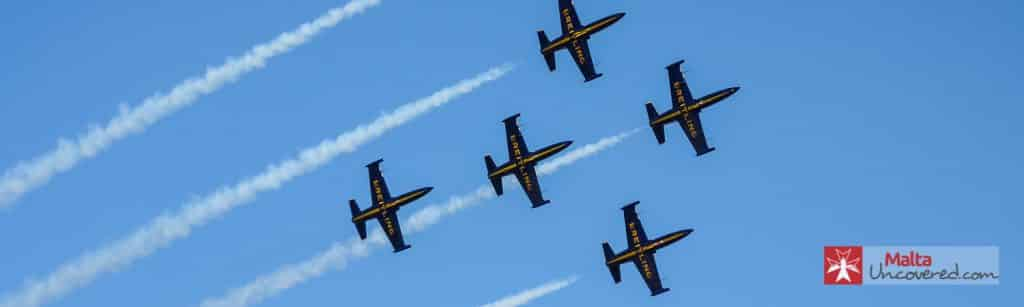 Breitling team demonstrate their flying skills at the Malta International Airshow