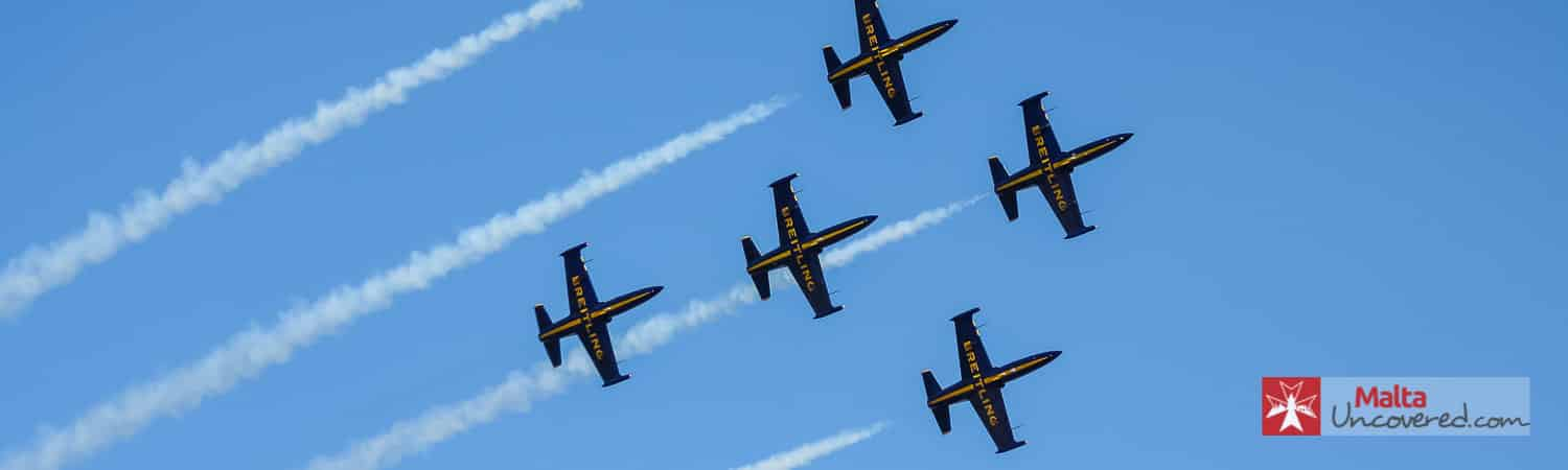 Breitling team demonstrates their flying skills at the Malta International Airshow