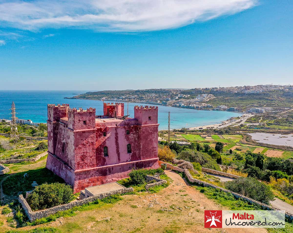 The red tower overlooking Mellieha Bay, in April.