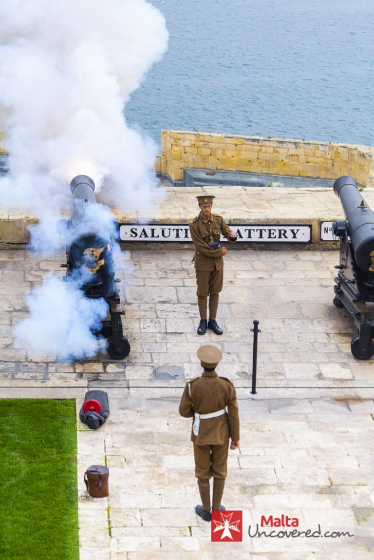 Cannon shot fired at the Saluting Battery in Valletta.