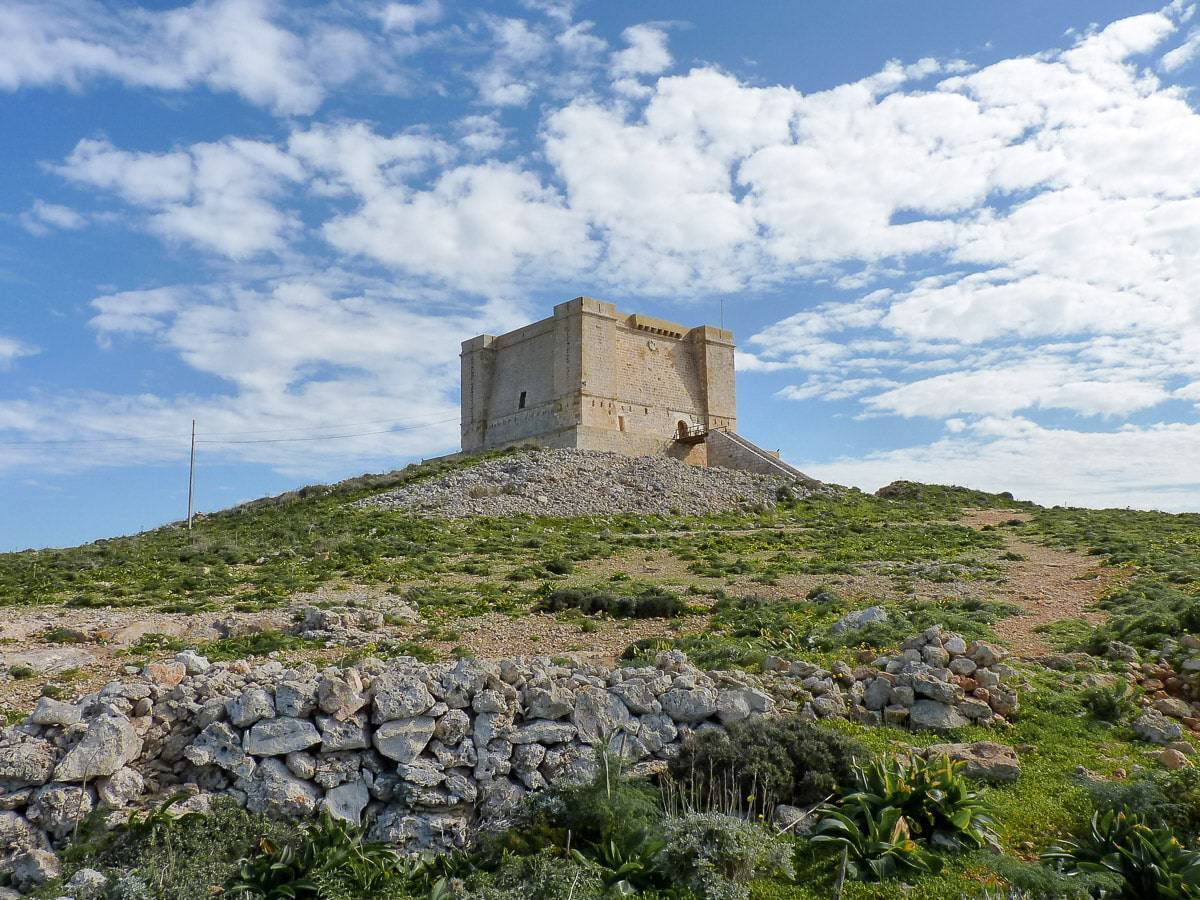 The Santa Marija watch tower that sits on the southern tip of Comino.