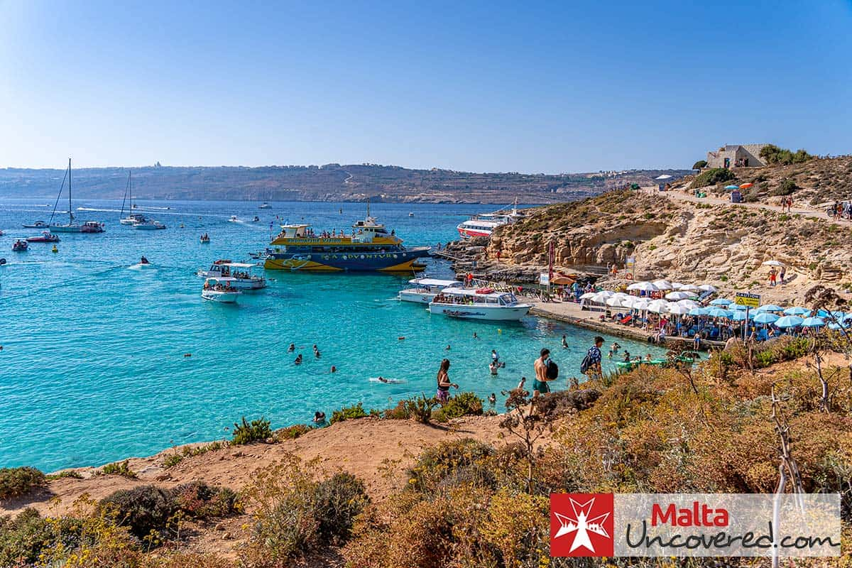 The Sea Adventure Excursion boat moored at the Blue Lagoon jetty in Comino on one of its trips.