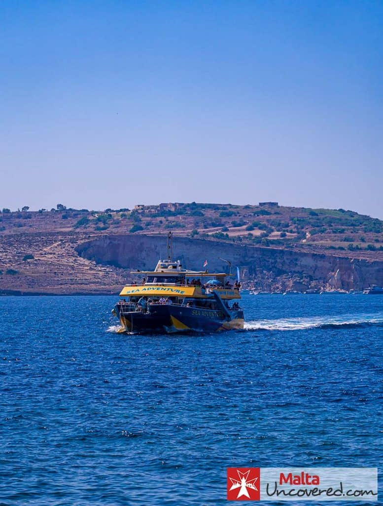 The catamaran with slide of Sea Adventure Excursions.