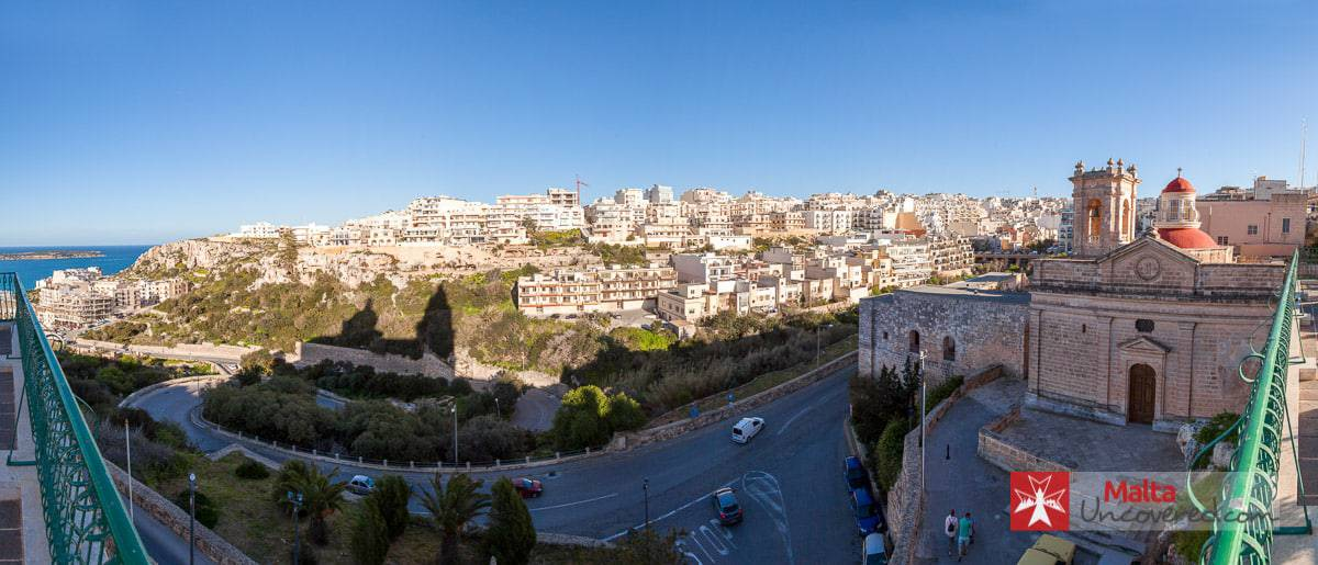 Panorama view from next to the Mellieħa church.