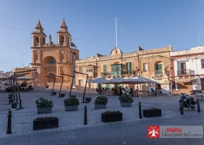 The main square and parish church of Marsaxlokk