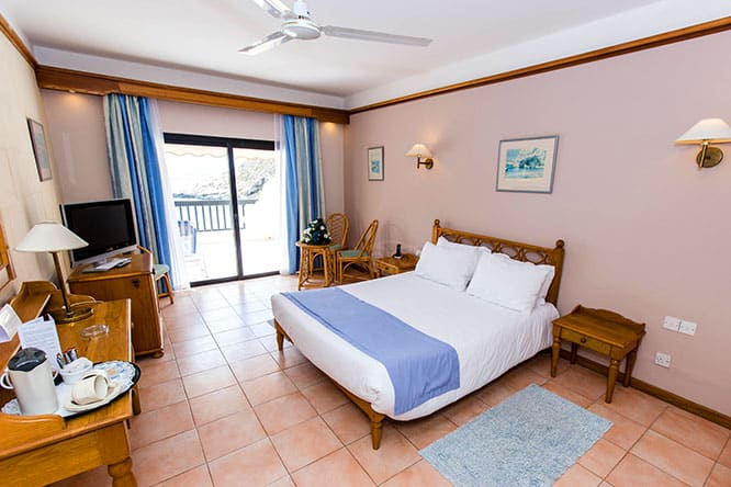 A modestly furnished room at St. Patrick's Hotel Gozo