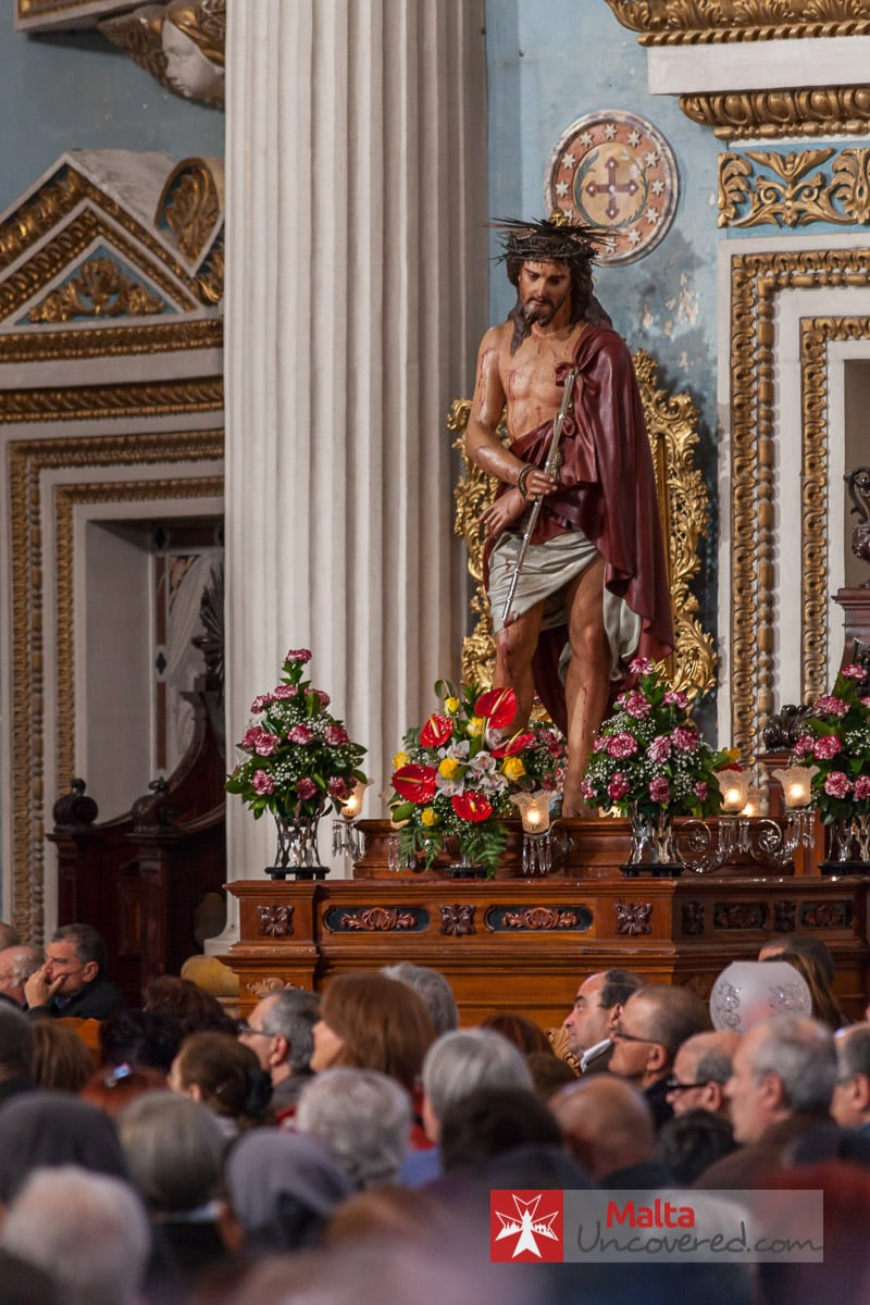 A statue of Christ in the Mosta dome church, which is to be carried during the procession.