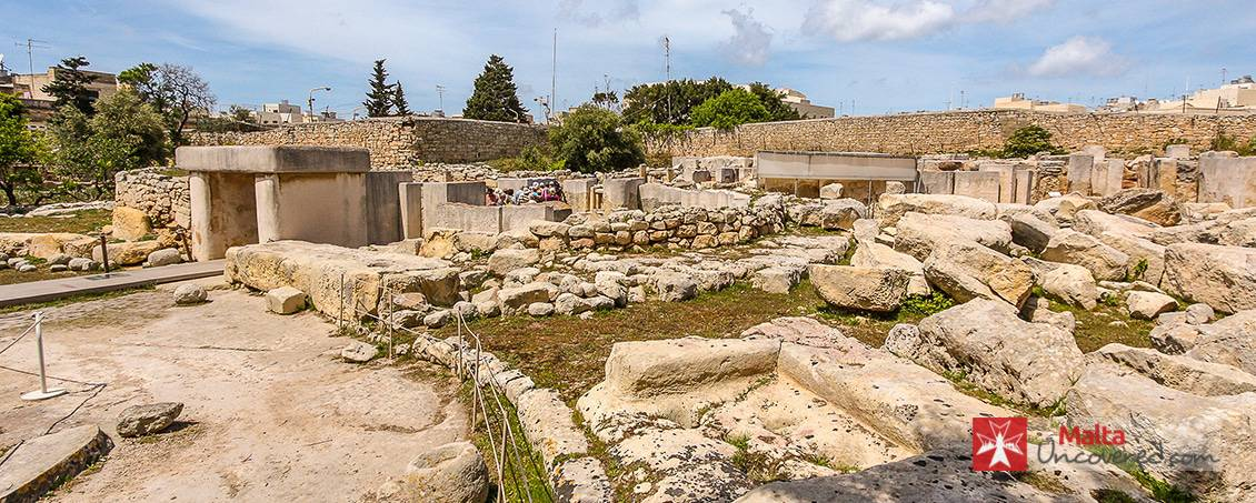 The Tarxien Temples complex before it was covered with a protective canopy.