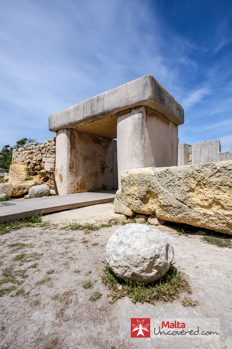 The reconstructed entrance to the Tarxien Temple complex