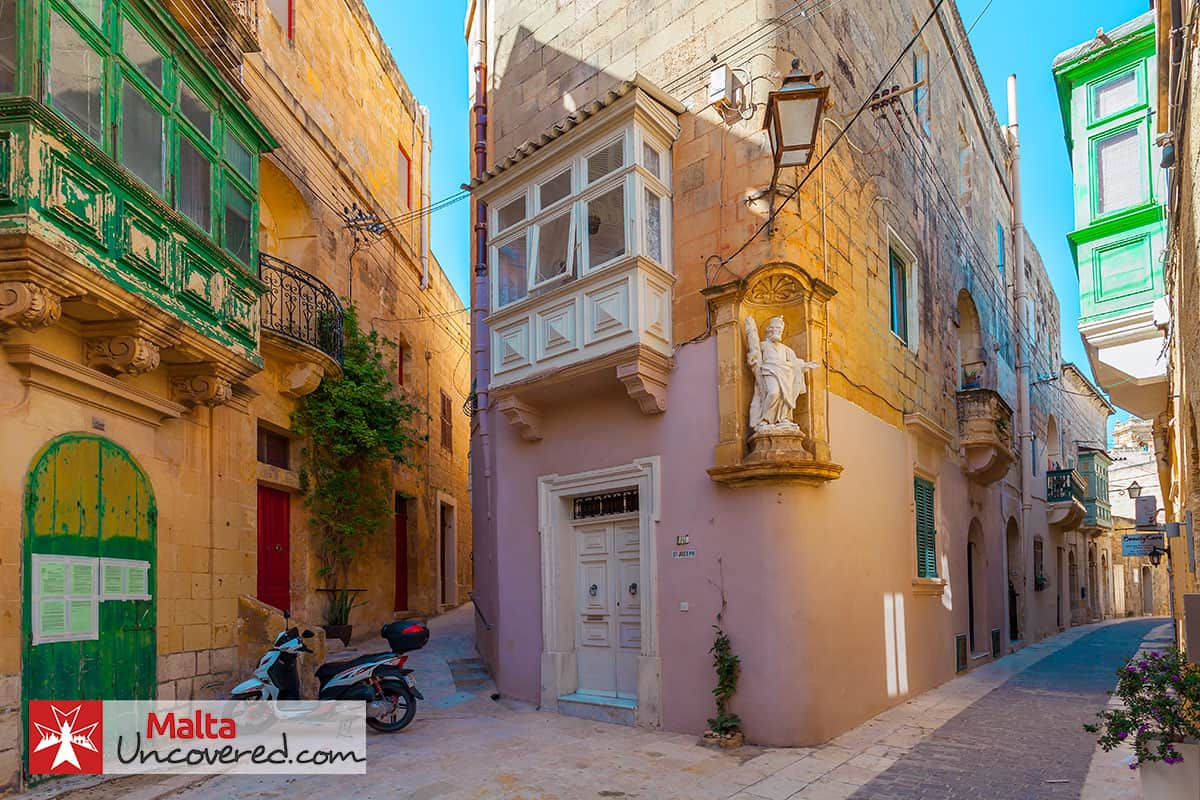 A quiet street in Victoria, Gozo towards the end of summer in October.