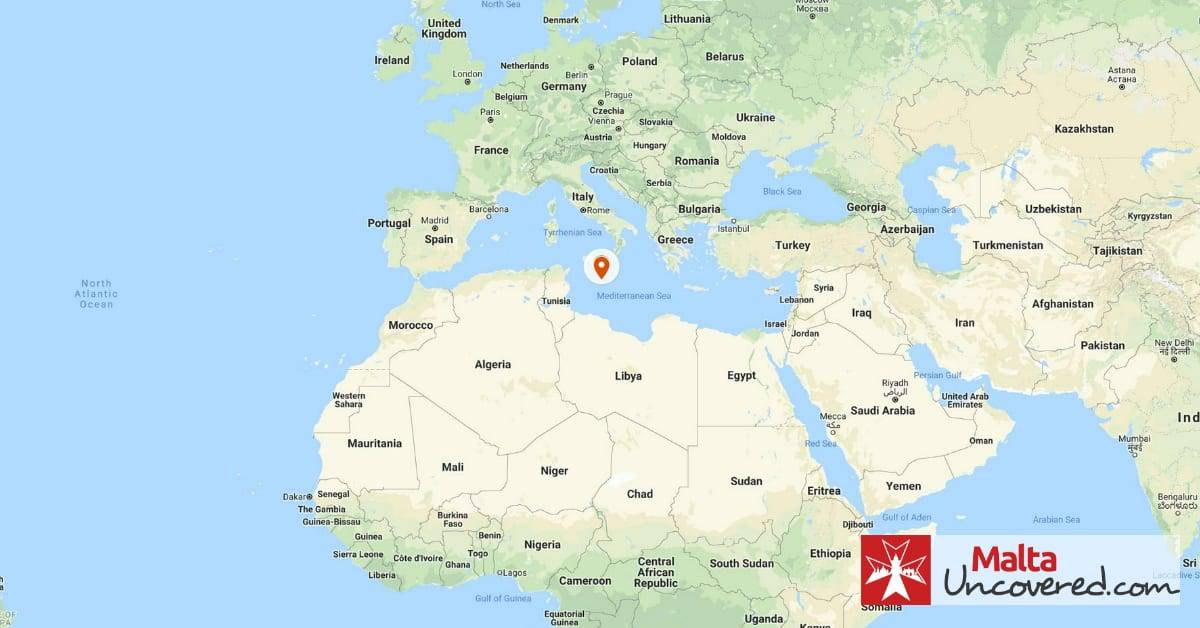 Where is Malta the country located on the map of the world?